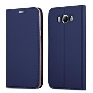Cadorabo Hülle für Samsung Galaxy J7 2016 in CLASSY DUNKEL BLAU - Handyhülle mit Magnetverschluss, Standfunktion und Kartenfach - Case Cover Schutzhülle Etui Tasche Book Klapp Style