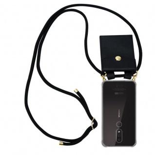 Cadorabo Handy Kette für Nokia 4.2 in SCHWARZ - Silikon Necklace Umhänge Hülle mit Gold Ringen, Kordel Band Schnur und abnehmbarem Etui ? Schutzhülle