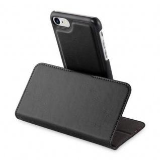 Cadorabo Hülle für Apple iPhone 7 / iPhone 7S / iPhone 8 - Hülle in KOHLEN SCHWARZ - Handyhülle im 2-in-1 Design mit Standfunktion und Kartenfach - Hard Case Book Etui Schutzhülle Tasche Cover - Vorschau 4