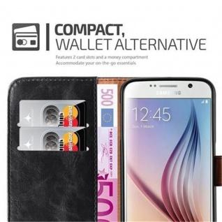 Cadorabo Hülle für Samsung Galaxy S6 in GRAPHIT SCHWARZ ? Handyhülle mit Magnetverschluss, Standfunktion und Kartenfach ? Case Cover Schutzhülle Etui Tasche Book Klapp Style - Vorschau 3