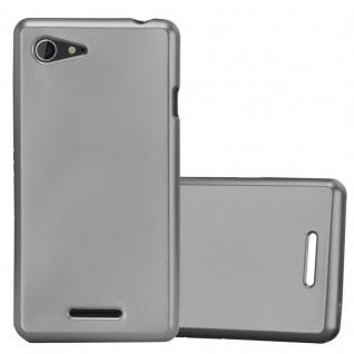 Cadorabo Hülle für Sony Xperia E3 in METALLIC GRAU - Handyhülle aus flexiblem TPU Silikon - Silikonhülle Schutzhülle Ultra Slim Soft Back Cover Case Bumper