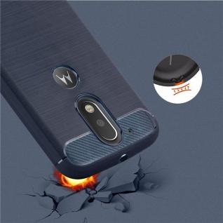 Cadorabo Hülle für Motorola MOTO G4 / MOTO G4 PLUS - Hülle in BRUSHED BLAU ? Handyhülle aus TPU Silikon in Edelstahl-Karbonfaser Optik - Silikonhülle Schutzhülle Ultra Slim Soft Back Cover Case Bumper - Vorschau 5