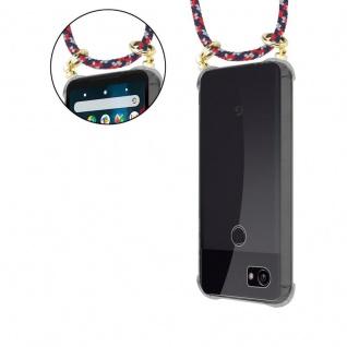 Cadorabo Handy Kette für Google Pixel 2 XL in ROT BLAU WEISS - Silikon Necklace Umhänge Hülle mit Gold Ringen, Kordel Band Schnur und abnehmbarem Etui ? Schutzhülle - Vorschau 5