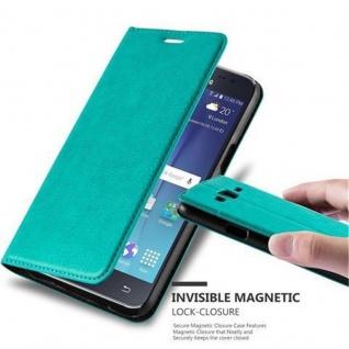 Cadorabo Hülle für Samsung Galaxy J5 2015 in PETROL TÜRKIS - Handyhülle mit Magnetverschluss, Standfunktion und Kartenfach - Case Cover Schutzhülle Etui Tasche Book Klapp Style