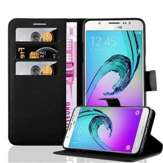 Cadorabo Hülle für Samsung Galaxy J7 2016 in PHANTOM SCHWARZ - Handyhülle mit Magnetverschluss, Standfunktion und Kartenfach - Case Cover Schutzhülle Etui Tasche Book Klapp Style