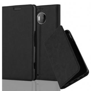 Cadorabo Hülle für Nokia Lumia 950 XL in NACHT SCHWARZ - Handyhülle mit Magnetverschluss, Standfunktion und Kartenfach - Case Cover Schutzhülle Etui Tasche Book Klapp Style