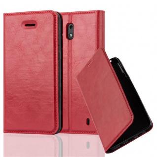 Cadorabo Hülle für Nokia 2 2017 in APFEL ROT - Handyhülle mit Magnetverschluss, Standfunktion und Kartenfach - Case Cover Schutzhülle Etui Tasche Book Klapp Style
