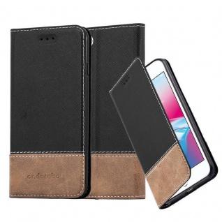 Cadorabo Hülle für Apple iPhone 7 / iPhone 7S / iPhone 8 in SCHWARZ BRAUN ? Handyhülle mit Magnetverschluss, Standfunktion und Kartenfach ? Case Cover Schutzhülle Etui Tasche Book Klapp Style