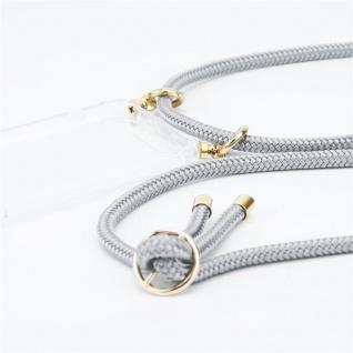 Cadorabo Handy Kette für Oppo A12 in SILBER GRAU Silikon Necklace Umhänge Hülle mit Gold Ringen, Kordel Band Schnur und abnehmbarem Etui Schutzhülle - Vorschau 3