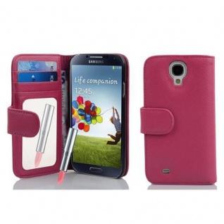 Cadorabo Hülle für Samsung Galaxy S4 - Hülle in DEEP PINK ? Handyhülle mit Spiegel und Kartenfach - Case Cover Schutzhülle Etui Tasche Book Klapp Style