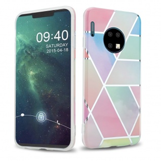 Cadorabo Hülle für Huawei MATE 30 Hülle in Regenbogen Marmor No.11 Handyhülle aus TPU Silikon mit Muster Mosaik Silikonhülle Schutzhülle Ultra Slim Back Cover Case Bumper