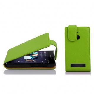 Cadorabo Hülle für Sony Xperia E1 in APFEL GRÜN - Handyhülle im Flip Design aus strukturiertem Kunstleder - Case Cover Schutzhülle Etui Tasche Book Klapp Style
