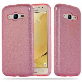 Cadorabo Hülle für Samsung Galaxy J2 2016 (6) - Hülle in STERNENSTAUB PINK - TPU Silikon und Hardcase Handyhülle im Glitzer Design - Hard Case TPU Silikon Schutzhülle