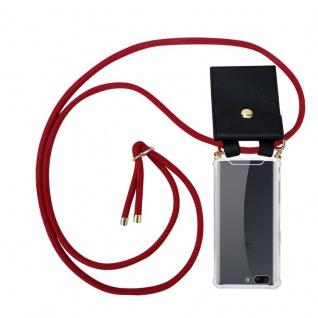 Cadorabo Handy Kette für OnePlus 5 in RUBIN ROT Silikon Necklace Umhänge Hülle mit Gold Ringen, Kordel Band Schnur und abnehmbarem Etui Schutzhülle