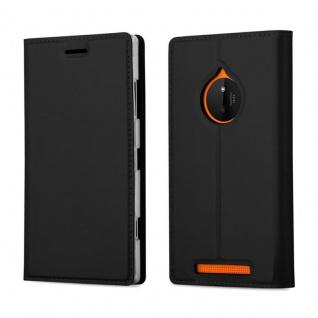Cadorabo Hülle für Nokia Lumia 830 in CLASSY SCHWARZ - Handyhülle mit Magnetverschluss, Standfunktion und Kartenfach - Case Cover Schutzhülle Etui Tasche Book Klapp Style