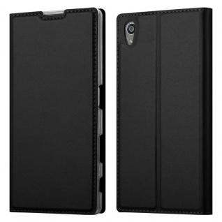 Cadorabo Hülle für Sony Xperia Z5 in CLASSY SCHWARZ - Handyhülle mit Magnetverschluss, Standfunktion und Kartenfach - Case Cover Schutzhülle Etui Tasche Book Klapp Style