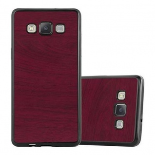 Cadorabo Hülle für Samsung Galaxy A5 2015 in WOODEN ROT ? Handyhülle aus flexiblem TPU Silikon ? Silikonhülle Schutzhülle Ultra Slim Soft Back Cover Case Bumper