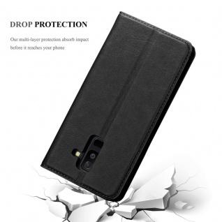 Cadorabo Hülle für Samsung Galaxy A6 PLUS 2018 in NACHT SCHWARZ - Handyhülle mit Magnetverschluss, Standfunktion und Kartenfach - Case Cover Schutzhülle Etui Tasche Book Klapp Style - Vorschau 5