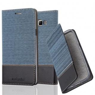 Cadorabo Hülle für Samsung Galaxy A7 2015 in DUNKEL BLAU SCHWARZ - Handyhülle mit Magnetverschluss, Standfunktion und Kartenfach - Case Cover Schutzhülle Etui Tasche Book Klapp Style
