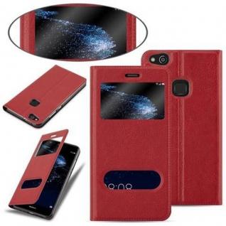 Cadorabo Hülle für Huawei P10 LITE in SAFRAN ROT - Handyhülle mit Magnetverschluss, Standfunktion und 2 Sichtfenstern - Case Cover Schutzhülle Etui Tasche Book Klapp Style - Vorschau 4