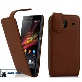 Cadorabo Hülle für Sony Xperia Z1 in KAKAO BRAUN - Handyhülle im Flip Design aus glattem Kunstleder - Case Cover Schutzhülle Etui Tasche Book Klapp Style