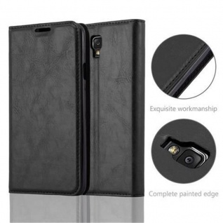 Cadorabo Hülle für Samsung Galaxy NOTE 3 NEO in NACHT SCHWARZ - Handyhülle mit Magnetverschluss, Standfunktion und Kartenfach - Case Cover Schutzhülle Etui Tasche Book Klapp Style - Vorschau 2