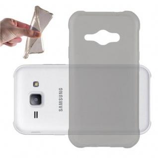 Cadorabo Hülle für Samsung Galaxy J1 ACE in TRANSPARENT SCHWARZ - Handyhülle aus flexiblem TPU Silikon - Silikonhülle Schutzhülle Ultra Slim Soft Back Cover Case Bumper