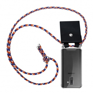 Cadorabo Handy Kette für Samsung Galaxy A6 PLUS 2018 in ORANGE BLAU WEISS Silikon Necklace Umhänge Hülle mit Silber Ringen, Kordel Band Schnur und abnehmbarem Etui Schutzhülle