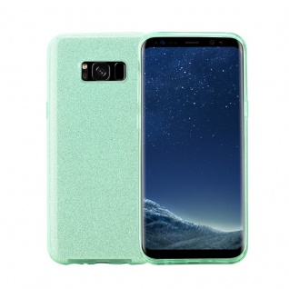 Cadorabo Hülle für Samsung Galaxy S8 PLUS - Hülle in STERNENSTAUB TÜRKIS ? TPU Silikon und Hardcase Handyhülle im Glitzer Design - Hard Case TPU Silikon Schutzhülle