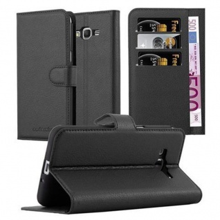 Cadorabo Hülle für Samsung Galaxy GRAND PRIME in PHANTOM SCHWARZ - Handyhülle mit Magnetverschluss, Standfunktion und Kartenfach - Case Cover Schutzhülle Etui Tasche Book Klapp Style