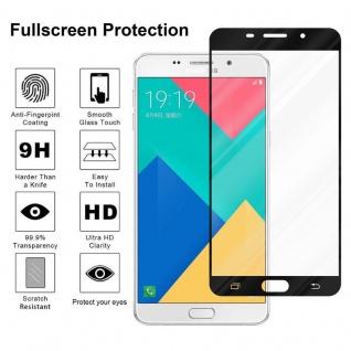 Cadorabo Vollbild Panzer Folie für Samsung Galaxy A9 2016 - Schutzfolie in TRANSPARENT mit SCHWARZ - Gehärtetes (Tempered) Display-Schutzglas in 9H Härte mit 3D Touch Kompatibilität - Vorschau 4