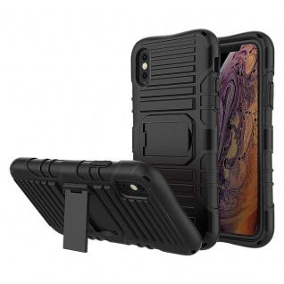 Cadorabo Hülle für Apple iPhone X / XS in SCHWARZ ? Handyhülle mit Standfunktion - Hard Case TPU Silikon Schutzhülle für Hybrid Cover im Outdoor Heavy Duty Design