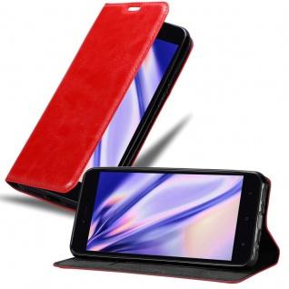Cadorabo Hülle für Xiaomi RedMi NOTE 5A PRIME in APFEL ROT - Handyhülle mit Magnetverschluss, Standfunktion und Kartenfach - Case Cover Schutzhülle Etui Tasche Book Klapp Style