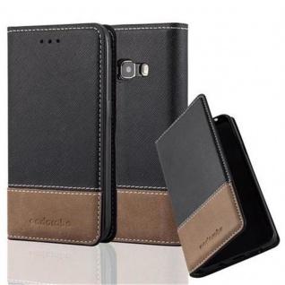 Cadorabo Hülle für Samsung Galaxy J1 2016 in SCHWARZ BRAUN - Handyhülle mit Magnetverschluss, Standfunktion und Kartenfach - Case Cover Schutzhülle Etui Tasche Book Klapp Style