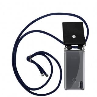 Cadorabo Handy Kette für Samsung Galaxy A11 in TIEF BLAU Silikon Necklace Umhänge Hülle mit Silber Ringen, Kordel Band Schnur und abnehmbarem Etui Schutzhülle