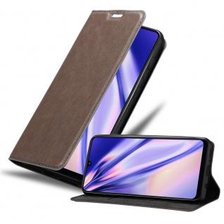 Cadorabo Hülle für Samsung Galaxy A31 in KAFFEE BRAUN Handyhülle mit Magnetverschluss, Standfunktion und Kartenfach Case Cover Schutzhülle Etui Tasche Book Klapp Style