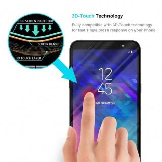 Cadorabo Vollbild Panzer Folie für Samsung Galaxy A6 2018 - Schutzfolie in TRANSPARENT mit SCHWARZ - Gehärtetes (Tempered) Display-Schutzglas in 9H Härte mit 3D Touch Kompatibilität - Vorschau 5