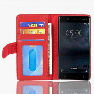 Cadorabo Hülle für Nokia 5 2017 in INFERNO ROT - Handyhülle mit Magnetverschluss und 3 Kartenfächern - Case Cover Schutzhülle Etui Tasche Book Klapp Style