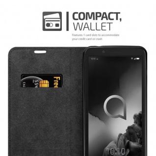 Cadorabo Hülle für Alcatel 1C 2019 in NACHT SCHWARZ - Handyhülle mit Magnetverschluss, Standfunktion und Kartenfach - Case Cover Schutzhülle Etui Tasche Book Klapp Style - Vorschau 3