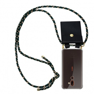 Cadorabo Handy Kette für Nokia 7 PLUS in CAMOUFLAGE Silikon Necklace Umhänge Hülle mit Gold Ringen, Kordel Band Schnur und abnehmbarem Etui Schutzhülle