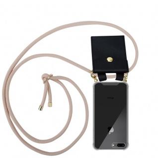 Cadorabo Handy Kette für Apple iPhone 8 PLUS / 7 PLUS / 7S PLUS in PERLIG ROSÉGOLD - Silikon Necklace Umhänge Hülle mit Gold Ringen, Kordel Band Schnur und abnehmbarem Etui ? Schutzhülle