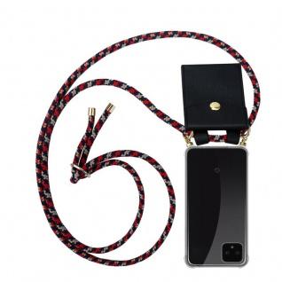 Cadorabo Handy Kette für Google Pixel 4 in ROT BLAU GELB - Silikon Necklace Umhänge Hülle mit Gold Ringen, Kordel Band Schnur und abnehmbarem Etui ? Schutzhülle