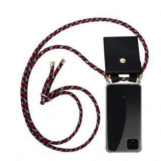 Cadorabo Handy Kette für Google Pixel 4 in ROT BLAU GELB Silikon Necklace Umhänge Hülle mit Gold Ringen, Kordel Band Schnur und abnehmbarem Etui Schutzhülle