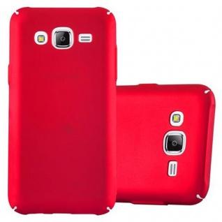 Cadorabo Hülle für Samsung Galaxy J5 2015 in METALL ROT - Hardcase Handyhülle aus Plastik gegen Kratzer und Stöße - Schutzhülle Bumper Ultra Slim Back Case Hard Cover