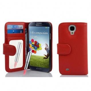 Cadorabo Hülle für Samsung Galaxy S4 - Hülle in CAYENNE ROT ? Handyhülle mit Spiegel und Kartenfach - Case Cover Schutzhülle Etui Tasche Book Klapp Style