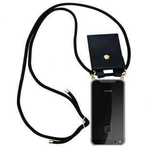 Cadorabo Handy Kette für Huawei P10 LITE in SCHWARZ Silikon Necklace Umhänge Hülle mit Gold Ringen, Kordel Band Schnur und abnehmbarem Etui Schutzhülle