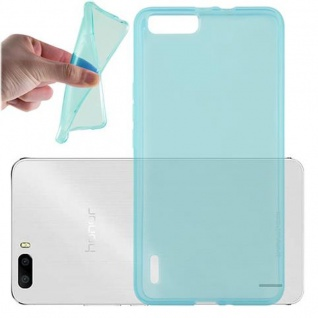 Cadorabo Hülle für Honor 6 PLUS - Hülle in TRANSPARENT BLAU ? Handyhülle aus TPU Silikon im Ultra Slim 'AIR' Design - Ultra Slim Soft Backcover Case Bumper