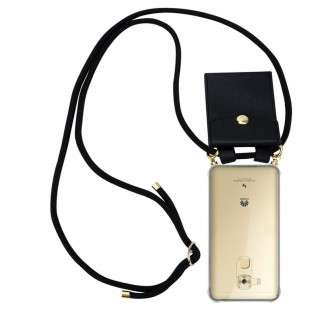 Cadorabo Handy Kette für Huawei NOVA PLUS in SCHWARZ Silikon Necklace Umhänge Hülle mit Gold Ringen, Kordel Band Schnur und abnehmbarem Etui Schutzhülle