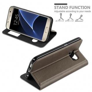 Cadorabo Hülle für Samsung Galaxy S7 in STEIN BRAUN ? Handyhülle mit Magnetverschluss, Standfunktion und 2 Sichtfenstern ? Case Cover Schutzhülle Etui Tasche Book Klapp Style - Vorschau 3