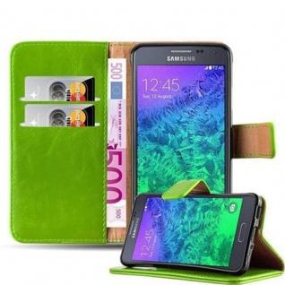 Cadorabo Hülle für Samsung Galaxy ALPHA in GRAS GRÜN ? Handyhülle mit Magnetverschluss, Standfunktion und Kartenfach ? Case Cover Schutzhülle Etui Tasche Book Klapp Style